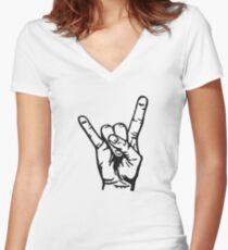 Devilhand - Pommesgabel Women's Fitted V-Neck T-Shirt