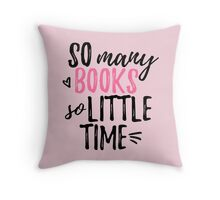 so many books (in pink) Throw Pillow