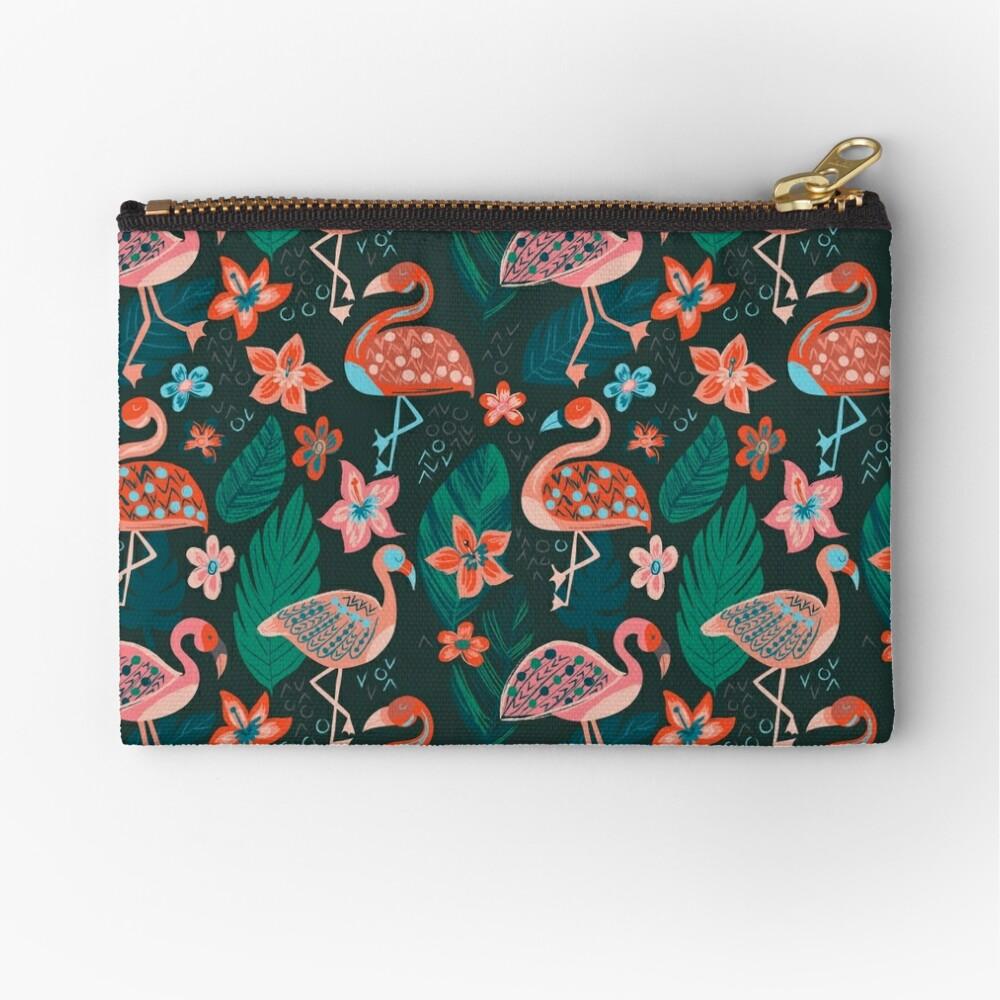 Flamingo Parade Zipper Pouch
