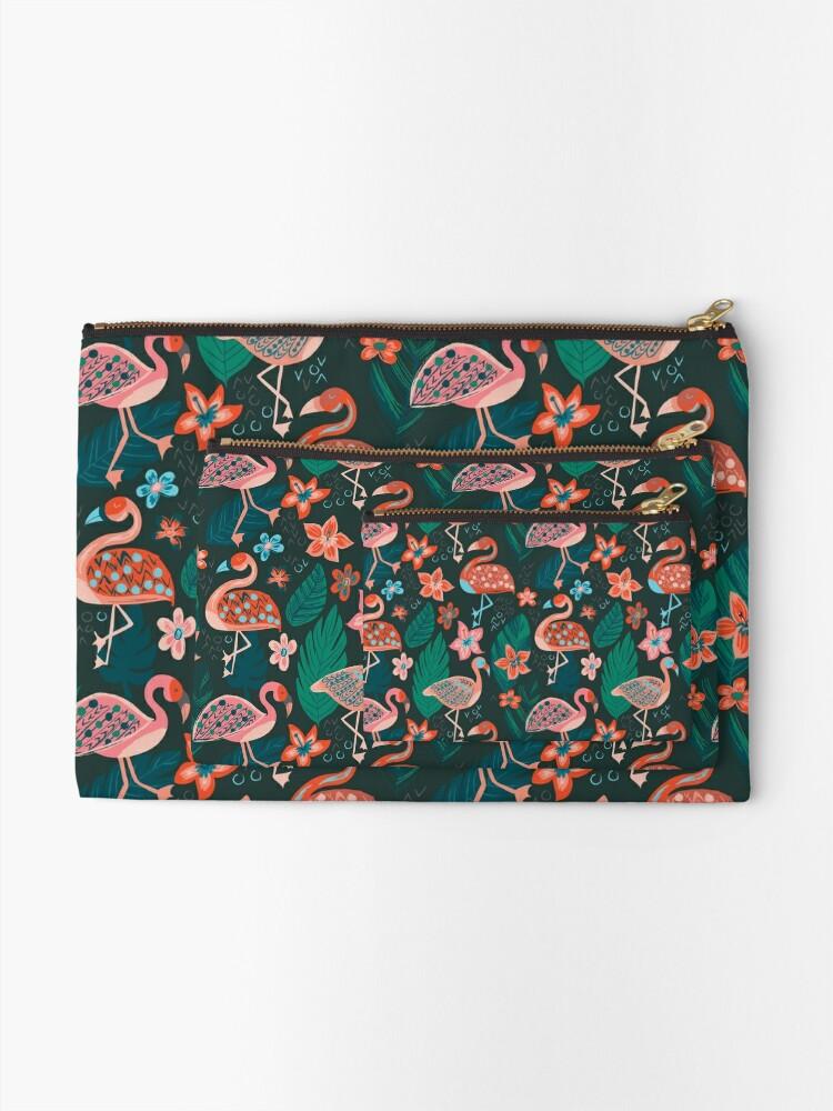 Alternate view of Flamingo Parade Zipper Pouch