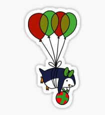 Christmas Balloon Penguin Sticker