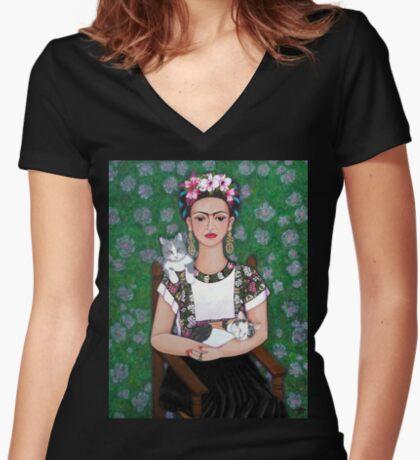 Frida cat lover Women's Fitted V-Neck T-Shirt