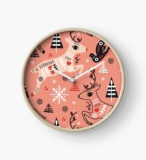 Holiday Folk in Pink Peppermint  Clock