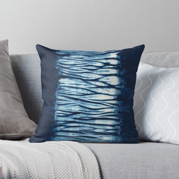 Indigo Blue Japanese Shibori Tie Dye Throw Pillow