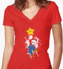 Super Mario Splattery T-Shirt Women's Fitted V-Neck T-Shirt