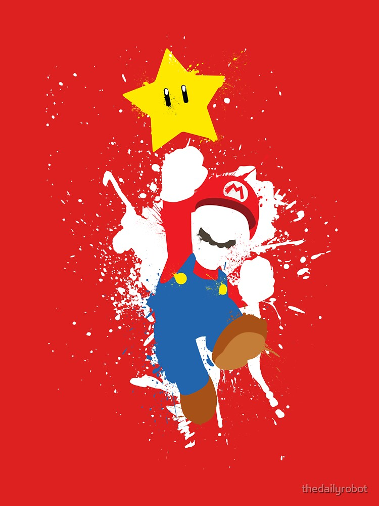 Super Mario Splattery T-Shirt by thedailyrobot