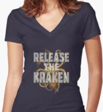 RELEASE THE KRAKEN Women's Fitted V-Neck T-Shirt