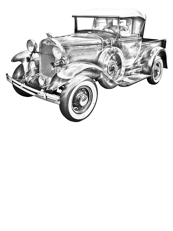 u0026quot 1930 ford model a pickup truck illustration u0026quot  stickers by