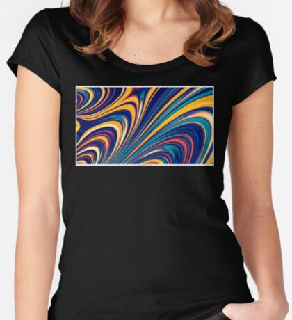 Color and Form - Curved Waves Flowing Lines  Women's Fitted Scoop T-Shirt