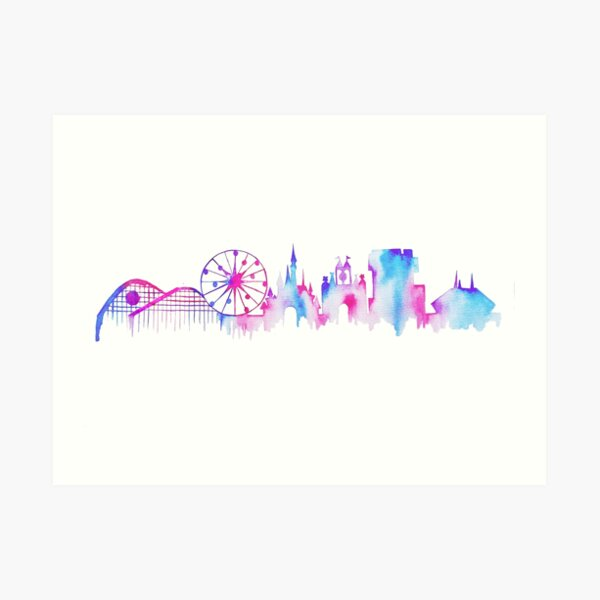 California Magic Theme Park Watercolor Skyline Silhouette Art Print