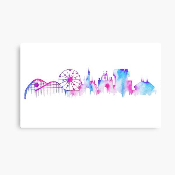California Magic Theme Park Watercolor Skyline Silhouette Canvas Print