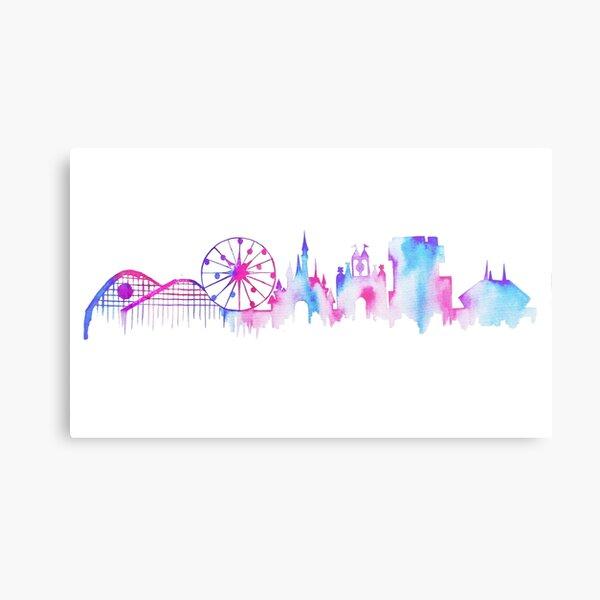 California Magic Theme Park Watercolor Skyline Silhouette Metal Print
