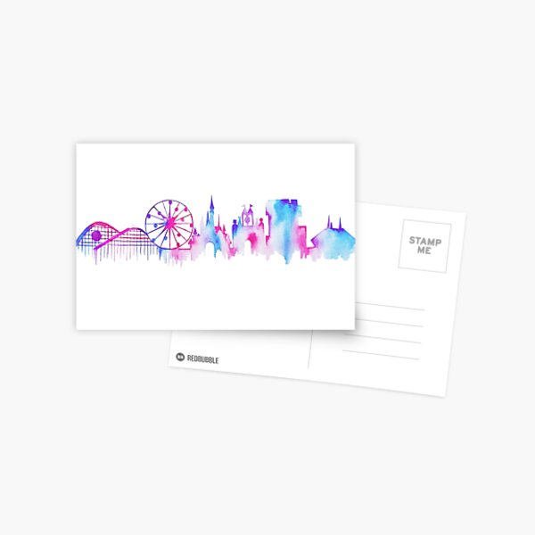 California Magic Theme Park Watercolor Skyline Silhouette Postcard