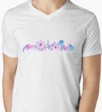 California Magic Theme Park Watercolor Skyline Silhouette Mens V-Neck T-Shirt
