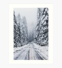 Snowy Oregon Road Art Print