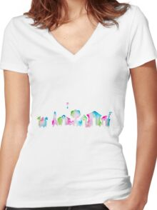 Animal Crossing New Leaf Inspired Watercolor Skyline Silhouette Women's Fitted V-Neck T-Shirt