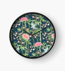 Bamboo, Birds and Blossom - dark teal Clock