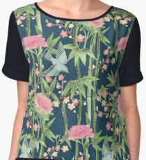 Bamboo, Birds and Blossom - dark teal Women's Chiffon Top