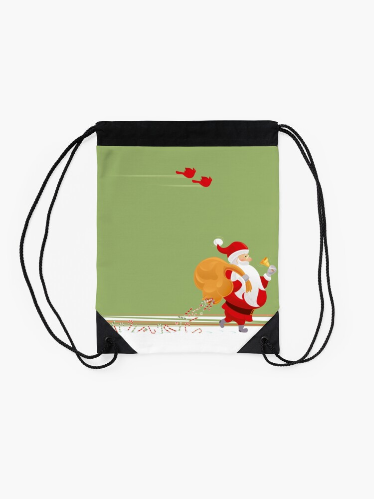 Alternate view of Santa and small red birds Drawstring Bag