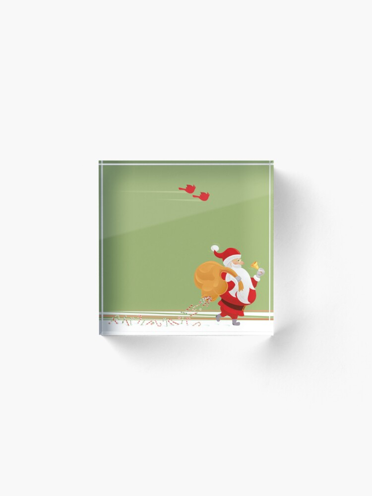 Alternate view of Santa and small red birds Acrylic Block