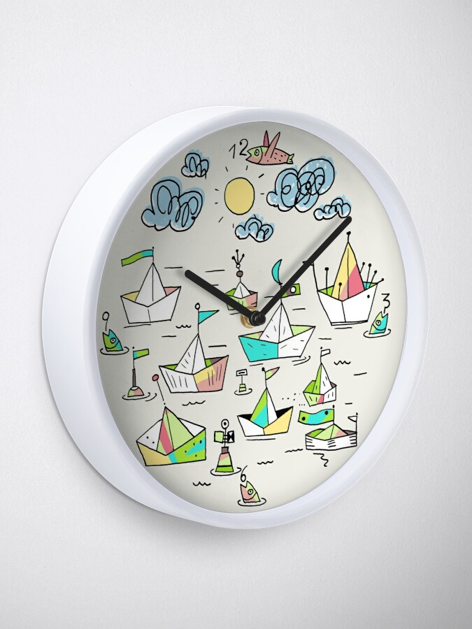 Alternate view of Ships in the harbor Clock