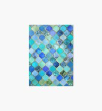 Cobalt Blue, Aqua & Gold Decorative Moroccan Tile Pattern Art Board