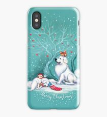 Great Pyrenees Christmas - Waiting for Santa iPhone Case/Skin