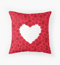 Red rose heart shape Throw Pillow