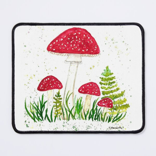 Red woodlands fern watercolor toadstools mushrooms Mouse Pad