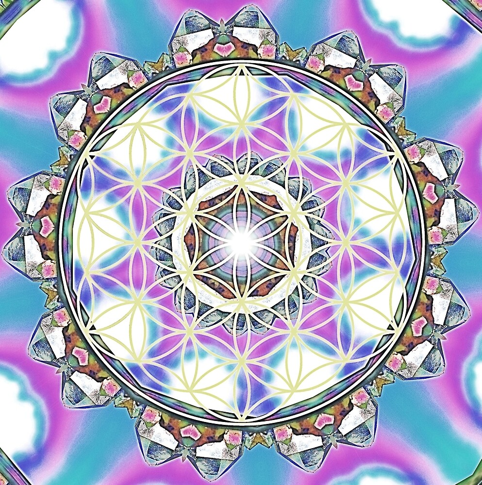 Flower of life crystal mandala by Lilaviolet