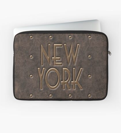 New York, leather and metal Laptop Sleeve