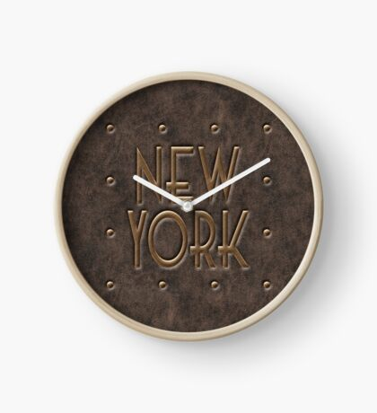 New York, leather and metal Clock