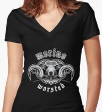 Heavy Metal Knitting - Merino - Worsted Women's Fitted V-Neck T-Shirt