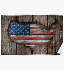 American Wood Flag Poster