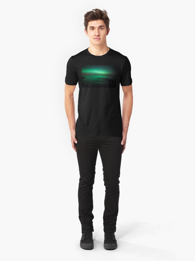 Alternate view of Mystic northern lights glow Slim Fit T-Shirt