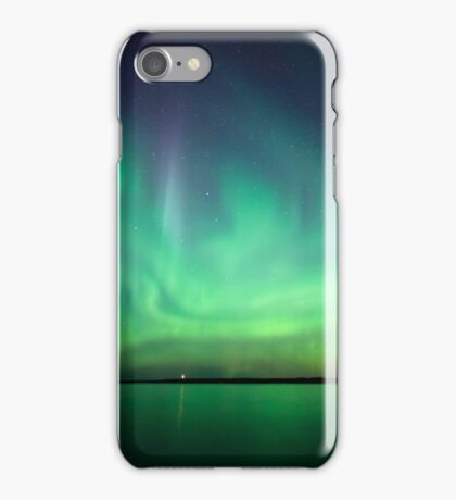 Northern lights over lake iPhone Case/Skin