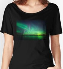 Northern lights over lake Women's Relaxed Fit T-Shirt