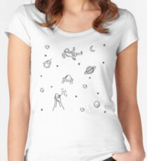 Doodle Space Inverted Women's Fitted Scoop T-Shirt