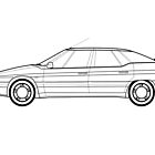 Citroen XM Line drawing artwork by RJWautographics