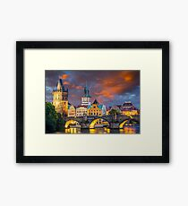 Prague Sunset Framed Print
