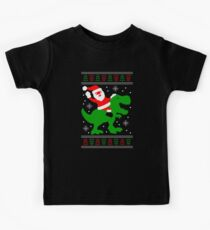 Ugly Christmas Sweater - Santa T-rex Kids Tee