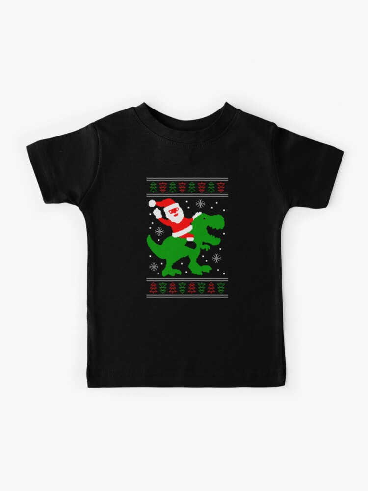 Ugly Christmas Sweater Santa T rex | Kids T Shirt