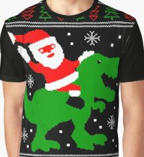 Ugly Christmas Sweater - Santa T-rex Graphic T-Shirt