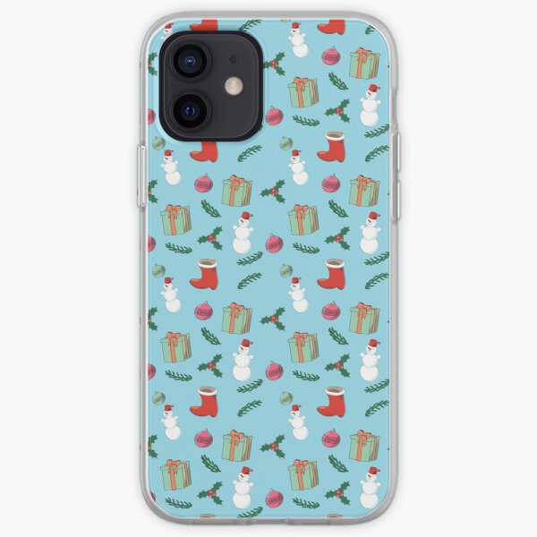 Christmas pattern with snowman iPhone Soft Case
