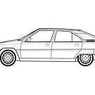Citroen BX line drawing artwork by RJWautographics
