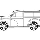 Morris Minor Traveller line drawing artwork by RJWautographics