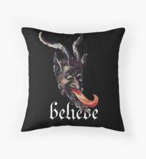 Krampus Believe Gruss Vom Merry Christmas Mask Throw Pillow