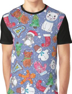 Christmas Characters Hand Painted in Watercolor Graphic T-Shirt