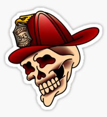 Traditional firefighter skull design Sticker