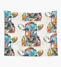 Colorful Cow Art - Mootown - By Sharon Cummings Wall Tapestry